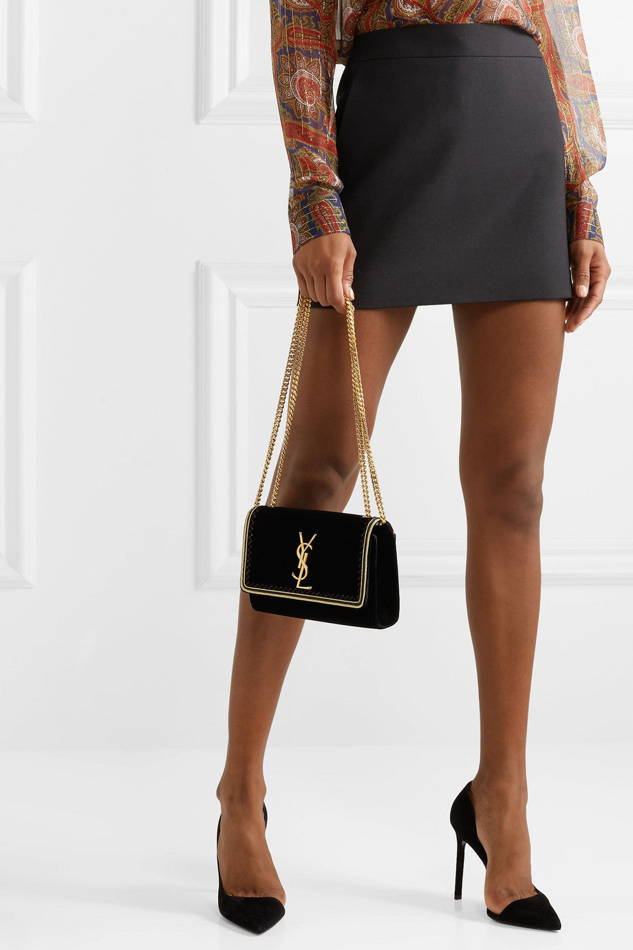 a5ad5edc4b62a Saint Laurent Monogramme Kate Lurex-trimmed Velvet Shoulder Bag ...