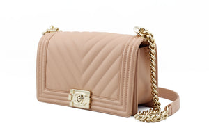Chanel Chevron Dark Nude Small Boy Bag Side View
