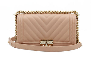 Chanel Chevron Dark Nude Small Boy Bag Front View