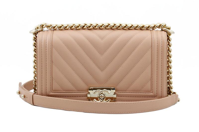 Chanel Chevron Dark Nude Small Boy Bag on Lap