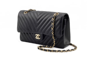 Chanel Black Chevron Medium Flap Bag Side View