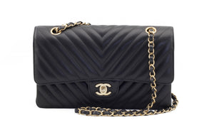 Chanel Black Chevron Medium Flap Bag Front View