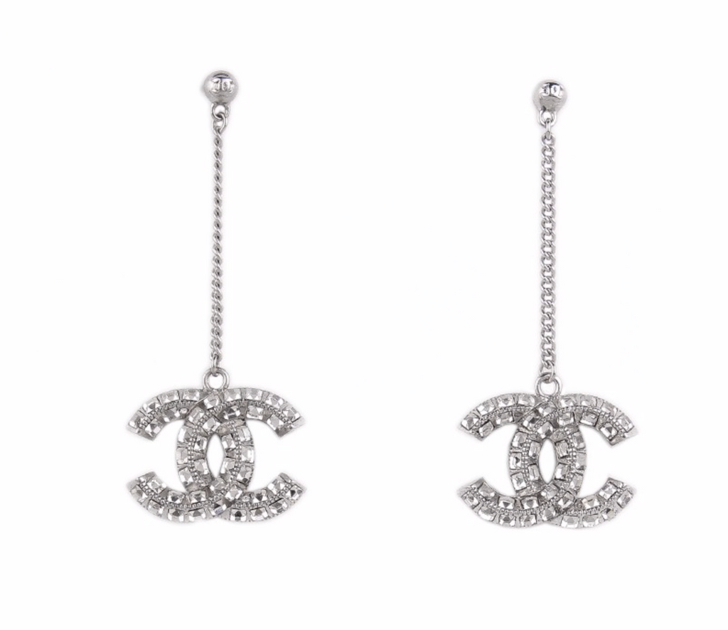 Chanel CC Crystal Drop Earrings