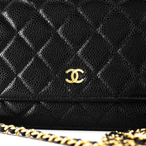 Chanel WOC in Black Caviar Front View