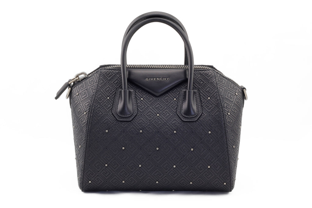 Givenchy Small Embossed Antigona Black Tote Bag Front View