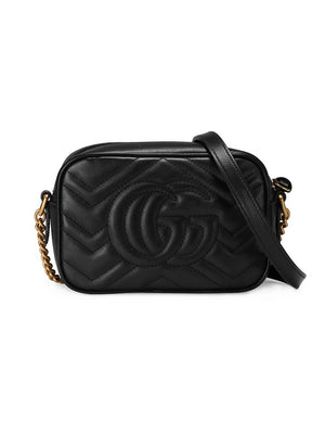 Gucci GG Marmont Mini Black Shoulder Bag Back View