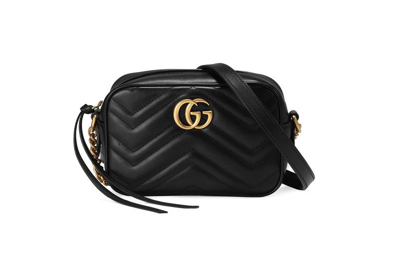 Gucci GG Marmont Mini Black Shoulder Bag Front View