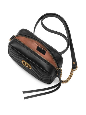 Gucci GG Marmont Mini Black Shoulder Bag Top View