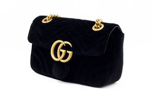 Gucci GG Marmont Black Velvet Bag Side View
