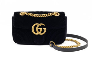 Gucci GG Marmont Black Velvet Bag Front View