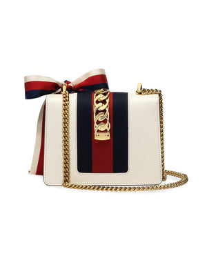 Gucci Sylvie Leather Mini Chain Bag Back View