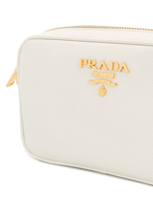 Prada Logo Plaque Crossbody Bag Side View of Logo
