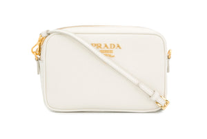 Prada Logo Plaque Crossbody Bag Front View