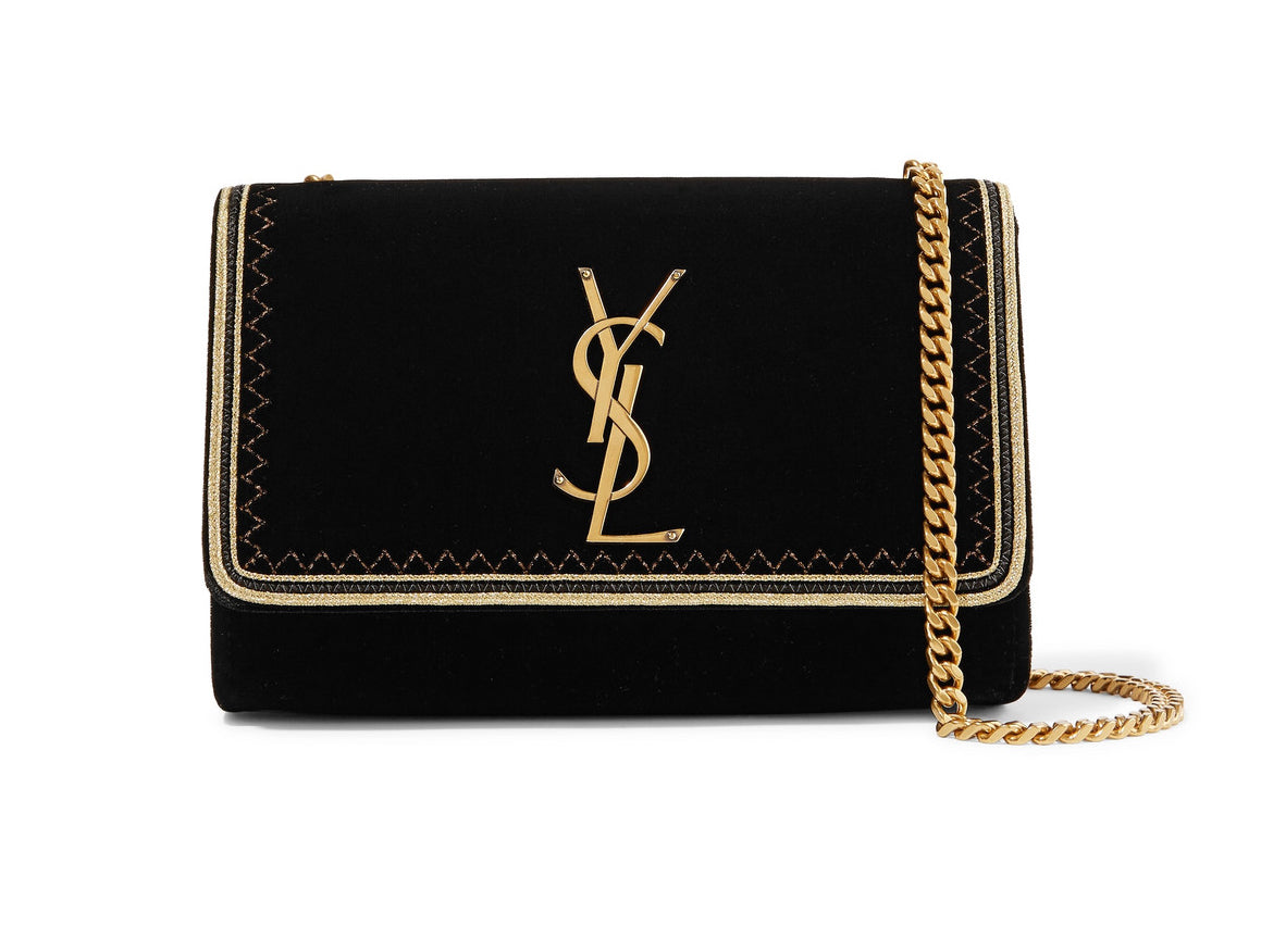 430d3a2d23f1 Saint Laurent Monogramme Kate Lurex-trimmed Velvet Shoulder Bag ...
