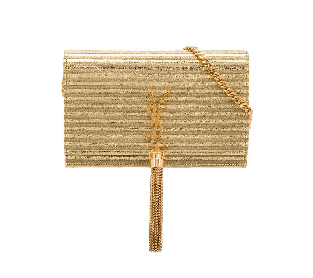 Saint Laurent Monogramme Gold Striped Kate Bag Front View