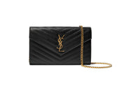 757aa9ccc25e0 Saint Laurent Monogram Black Chain Wallet