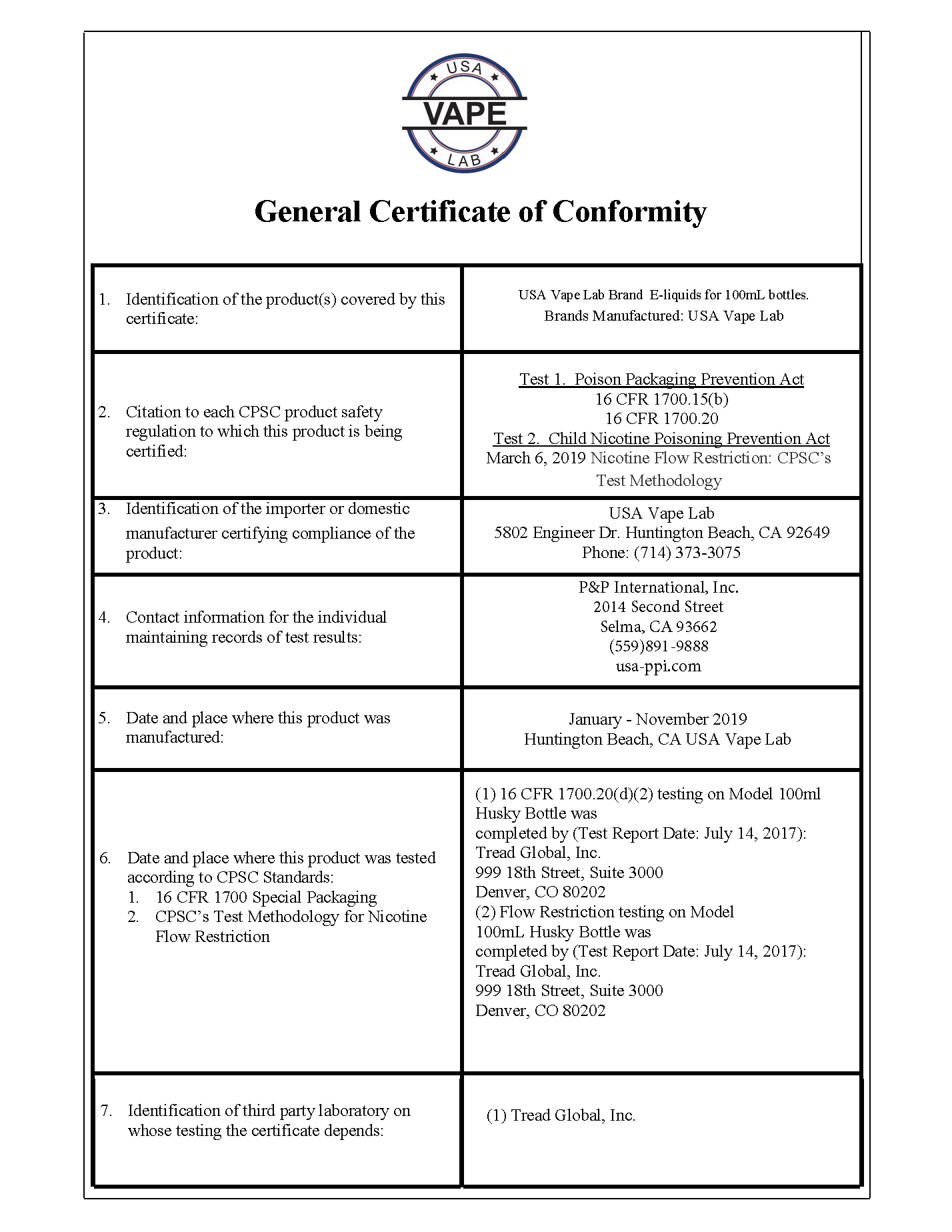 USA Vape Lab General Certificate of Conformity - Page 3