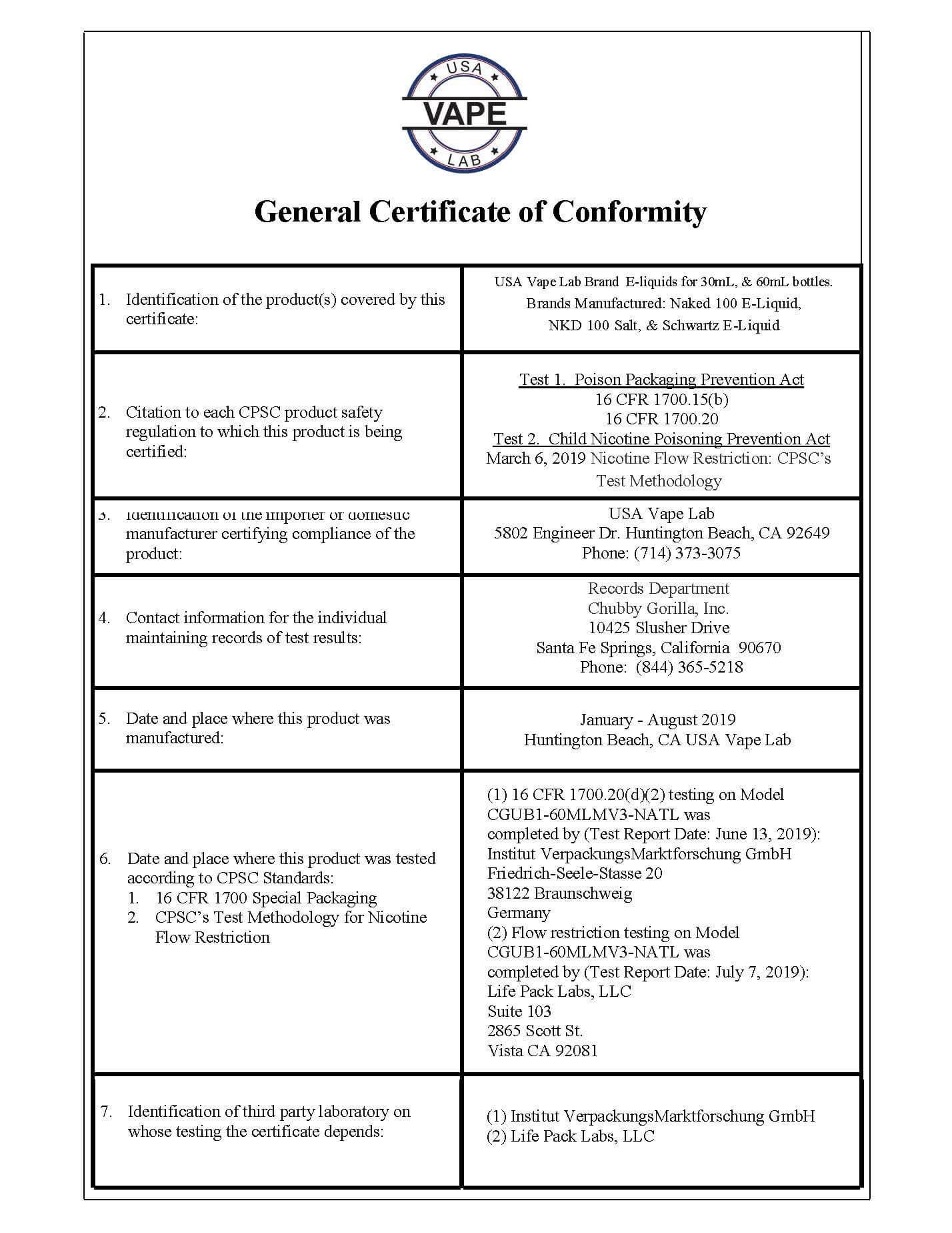 General Certificate of Conformity