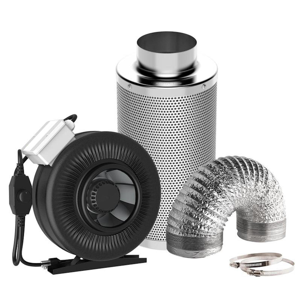 "4"" In-Line Fan with Variable Fan Speed Controller & Filter With Duct kit - pivertoindoorgrowing"