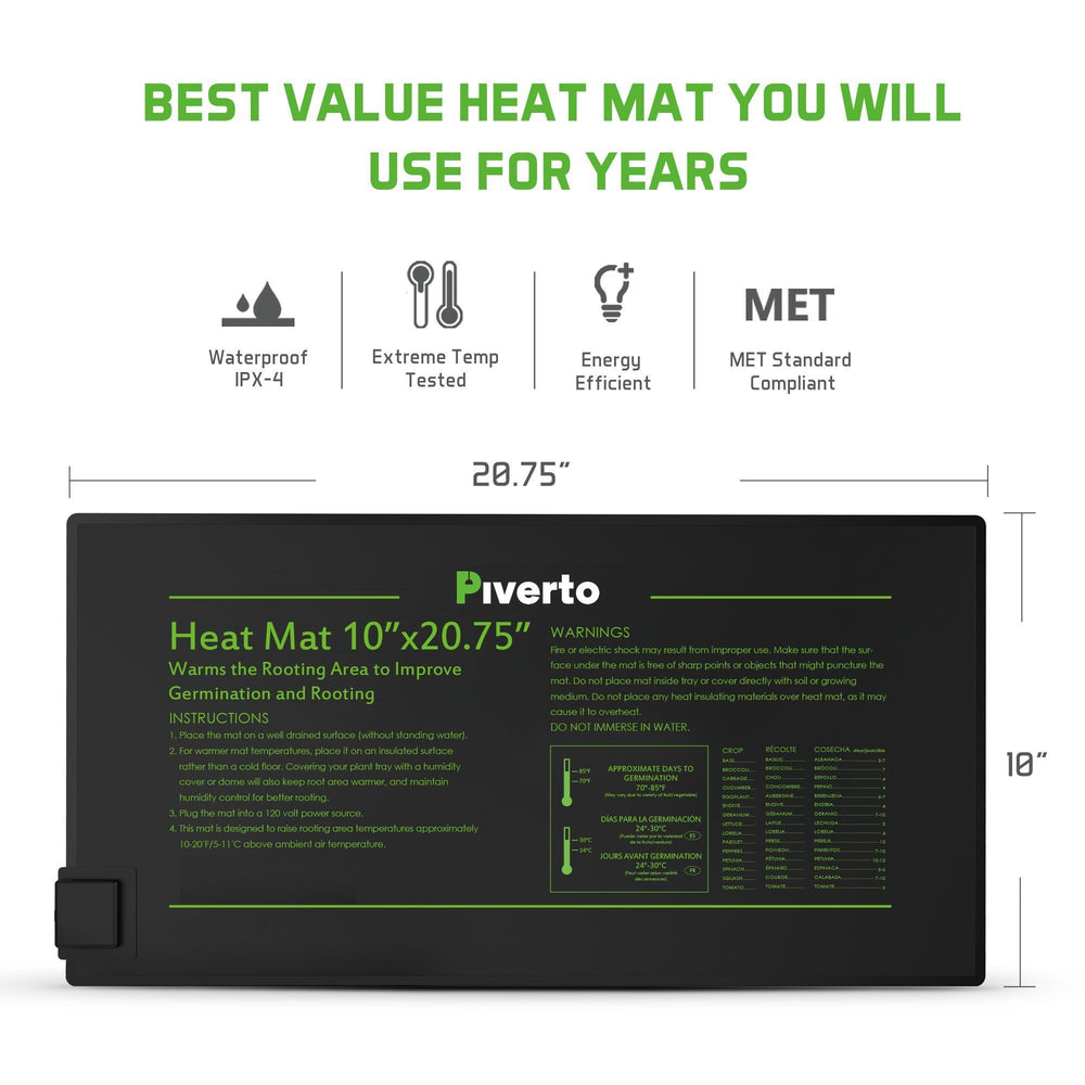 "10""x20"" Seedling Mat With Thermostat Controller - pivertoindoorgrowing"