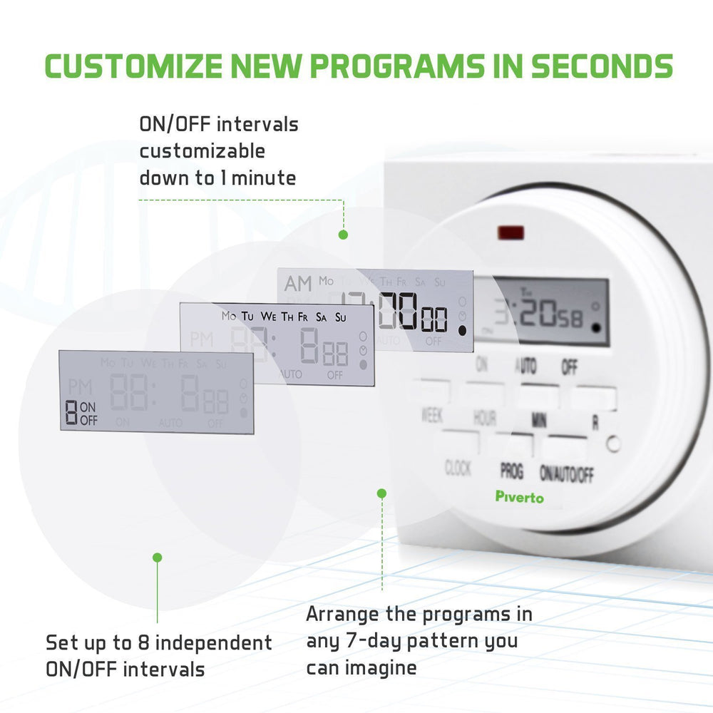 7 Days Dual Outlet Digital Program Timer - pivertoindoorgrowing
