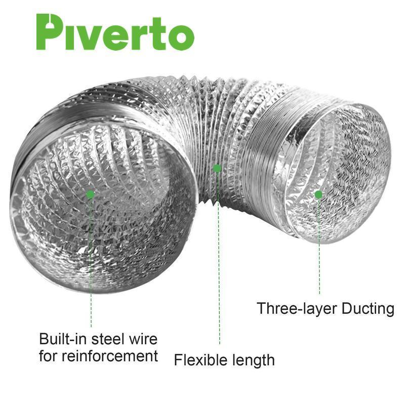 "4"" Flexible Duct With 2 clips 8ft - pivertoindoorgrowing"