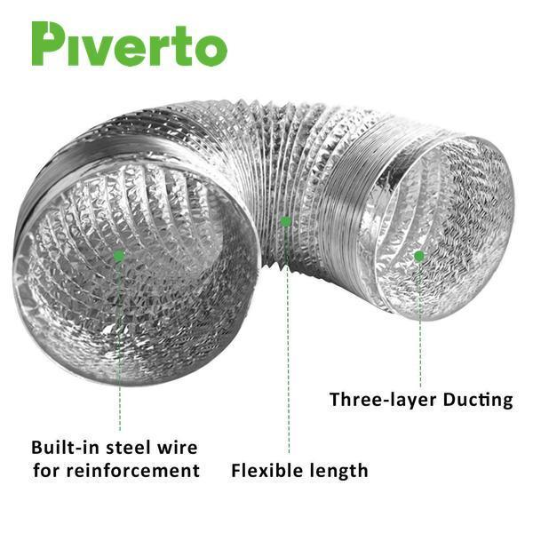 "6"" Flexible Duct With 2 clips 8ft - pivertoindoorgrowing"