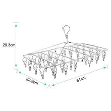 Load image into Gallery viewer, Storage rosefray laundry clothesline hanging rack for drying sturdy 44 clips handy cloth drying hanger store hats caps and visors