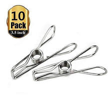 Load image into Gallery viewer, Featured yamde 10 pack 3 5 inch big heavy duty stainless steel wire clips for drying on clothesline clothespins hanging clip hooks for home laundry office use
