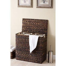 Load image into Gallery viewer, On amazon birdrock home oversized divided hamper with liners espresso made of natural woven abaca fiber organize laundry cut out handles for easy transport includes 2 machine washable canvas liners