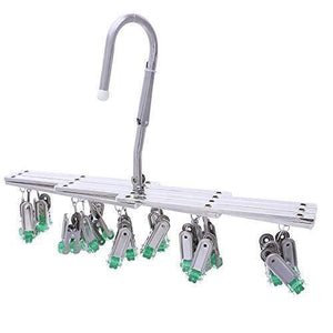 Shop here hanging drying rack drip hanger laundry underwear sock lingerie drying hooks 18 clips pegs stainless stell folding portable windproof advanced instant collect clothesgreen
