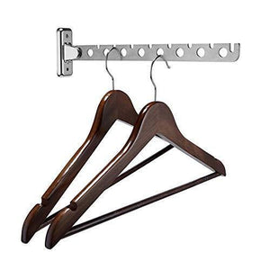 Budget catanexus hanger holder stainless steel wardrobe organizer wall mounted clothes bar folding garment drying rack with swing arm hook closet storage organizer for laundry room bedrooms bathrooms