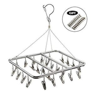 Save asperffort stainless steel laundry drying rack with 26 clips drip hanger with metal clothespins for drying socks bras underware baby clothes socks clother hanger