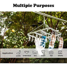 Load image into Gallery viewer, Selection asperffort stainless steel laundry drying rack with 26 clips drip hanger with metal clothespins for drying socks bras underware baby clothes socks clother hanger
