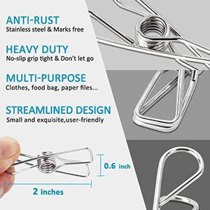 Shop for itowe clothespin 2 2 pin 60 pack stainless steel wire clip durable metal pin for clothesline utility pin for laundry kitchen backyard outdoor clothes drying bag sealing room decorating office pin