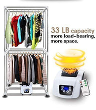 Load image into Gallery viewer, Results manatee clothes dryer portable drying rack for laundry 1200w 33 lb capacity energy saving anion folding dryer quick dry efficient mode digital automatic timer with remote control