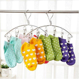 Heavy duty 3 pack stainless steel laundry drying rack clothes hanger with 10 clips for drying socks drying towels diapers bras baby clothes underwear socks gloves
