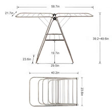 Load image into Gallery viewer, Kitchen soges folding clothes drying rack stainless steel laundry rack dry hanger stand with shoe rack easy storage indoor outdoor use ks k8008