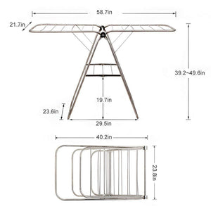 Heavy duty dlandhome stainless steel clothes drying rack gullwing space saving laundry rack foldable for indoor and outdoor use k8008