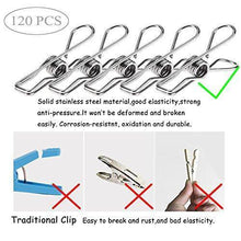 Load image into Gallery viewer, Discover 120 pack stainless steel cloth pin 2 2 inch clothesline hook for socks towel bag scarfs hang drying rack tool laundry kitchen cord wire line clothespins pegs file paper bookmark s binder metal clip