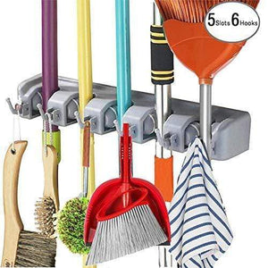 Organize with feir mop broom holder wall mounted kitchen hanging garage utility tool organizers and storage rack for commercial bathroom laundry room closet gardening