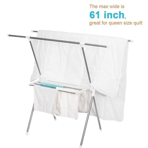Latest storage maniac expandable clothes drying rack heavy duty stainless steel laundry garment rack 38 61 inch wide