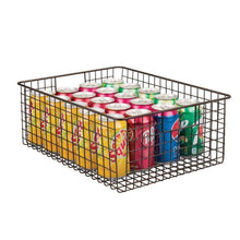 Load image into Gallery viewer, Explore mdesign farmhouse decor metal wire food organizer storage bin baskets with handles for kitchen cabinets pantry bathroom laundry room closets garage 4 pack bronze