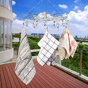 Heavy duty amagoing hanging drying rack laundry drip hanger with 20 clips and 10 replacement for drying socks baby clothes bras towel underwear hat scarf pants gloves