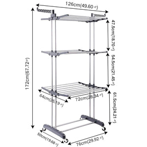 Cheap 3 tier rolling clothes drying rack clothes garment rack laundry rack with foldable wings shape indoor outdoor standing rack stainless steel hanging rods gray electroplate gray