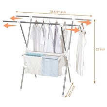 Load image into Gallery viewer, Kitchen storage maniac expandable clothes drying rack heavy duty stainless steel laundry garment rack 38 61 inch wide