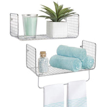 Load image into Gallery viewer, Discover the mdesign metal wire farmhouse wall decor storage organizer shelving set 1 shelf with towel bar for bathroom laundry room kitchen garage wall mount 2 pieces chrome