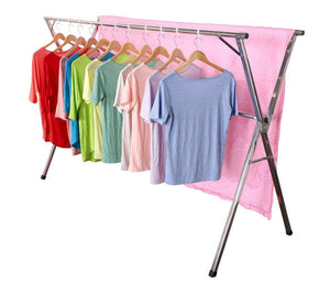 Try exilot heavy duty stainless steel laundry drying rack for indoor outdoor foldable easy storage clothes drying rack free of installation adjustable garment rack