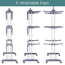 Load image into Gallery viewer, Discover 3 tier rolling clothes drying rack clothes garment rack laundry rack with foldable wings shape indoor outdoor standing rack stainless steel hanging rods gray electroplate gray