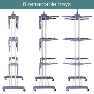 Discover 3 tier rolling clothes drying rack clothes garment rack laundry rack with foldable wings shape indoor outdoor standing rack stainless steel hanging rods gray electroplate gray
